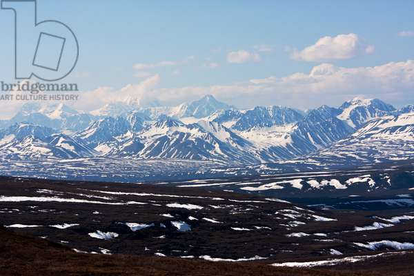 A scenic view of the rugged, snow-covered Alaska Range (photo)