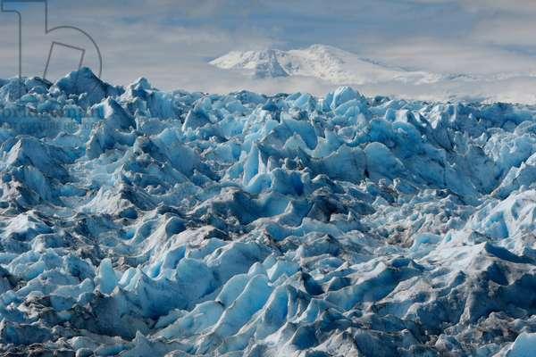 Lautaro, an active volcano, looms over the surface of Pío XI Glacier (photo)