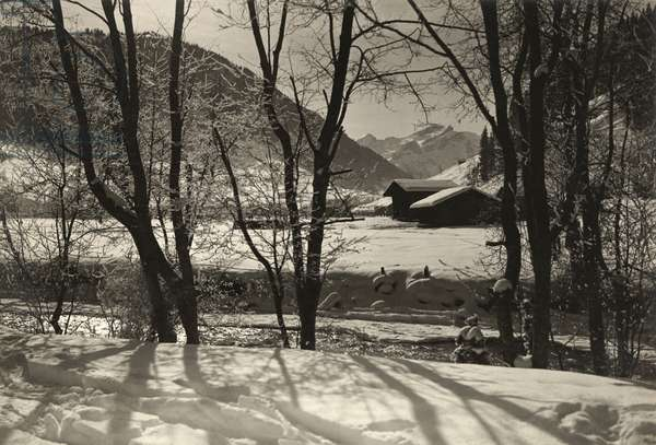 A scenic view of a cabin in the snow, 1920 (b/w photo)