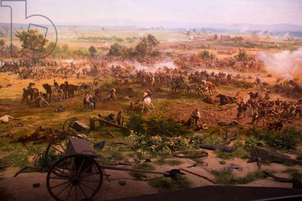 A painted cyclorama view of the Battle of Gettysburg recently reconditioned (photo)