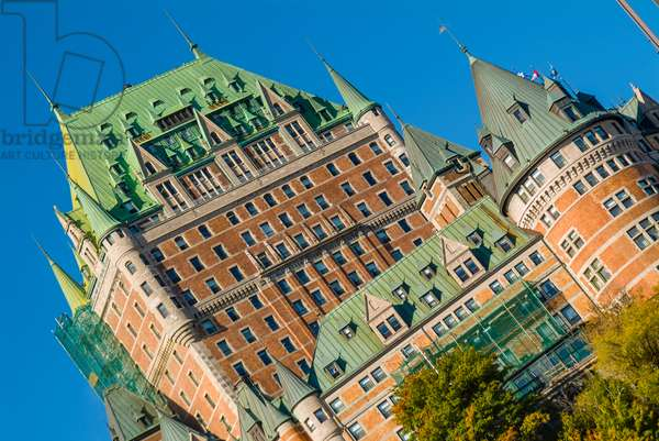 The iconic Chateau Frontenac dominates the skyline of Quebec City
