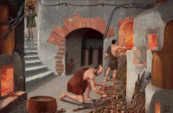 Slaves feed wood to basement furnaces to warm baths (colour litho)