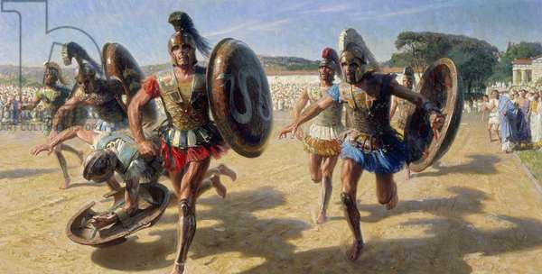 Greek contestants wearing heavy armour race for fame and the olive wreath (colour litho)