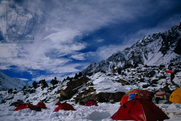 Clouds approaching over Nanga Parbat's base camp (photo)