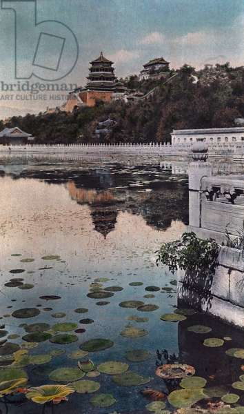 Painting of a lily lake with Chinese architecture in the background, 1936 (hand-coloured photo)