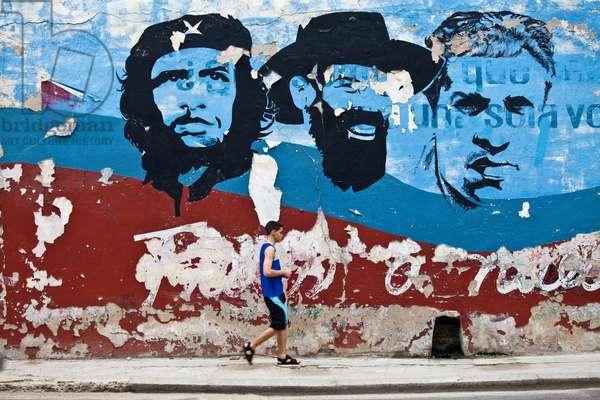 A boy walks past murals of Che Guevara and Fidel Castro (photo)