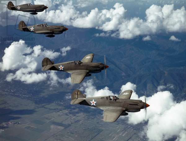 P-40 Pursuits of the U.S. Army Air Corps patrol over Trinidad, Trinidad, 1942 (photo)