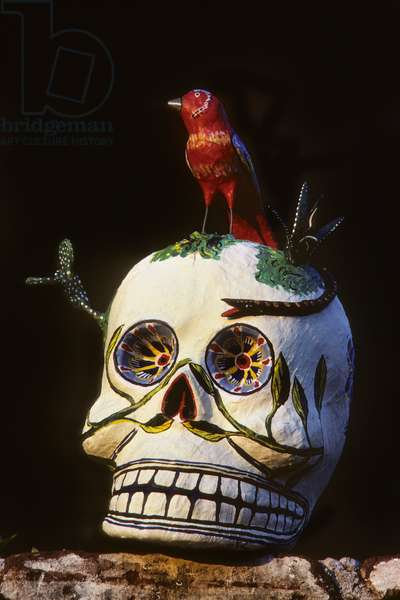 A paper mache calavera made for Day of the Dead by Pedro Linares (photo)