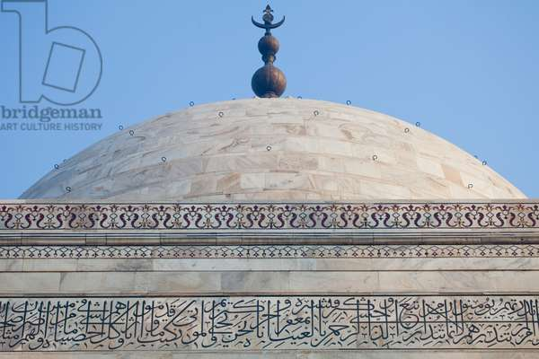 Architectural details and Islamic script of the Taj Mahal (photo)