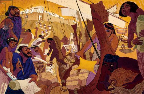 A modern painting illustrates everyday Phoenician life (colour litho)