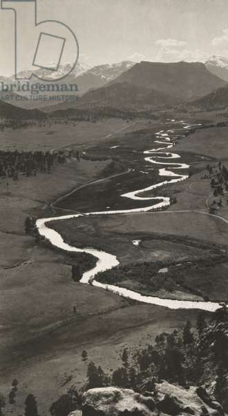 Big Thompson River snakes through Colorado's Estes Park, 1922 (b/w photo)