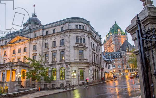 The iconic Chateau Frontenac and the Louis S St Laurent Building in Quebec (photo)