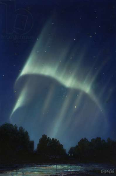 Masses of rays are formed when an aurora's rayed bands are broken, 1947 (colour litho)