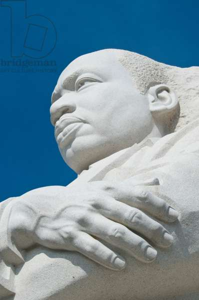 A stern look adorns Martin Luther King Jr's memorial