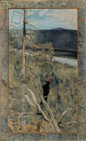 The Great Black Woodpecker, 1893 (gouache on paper)