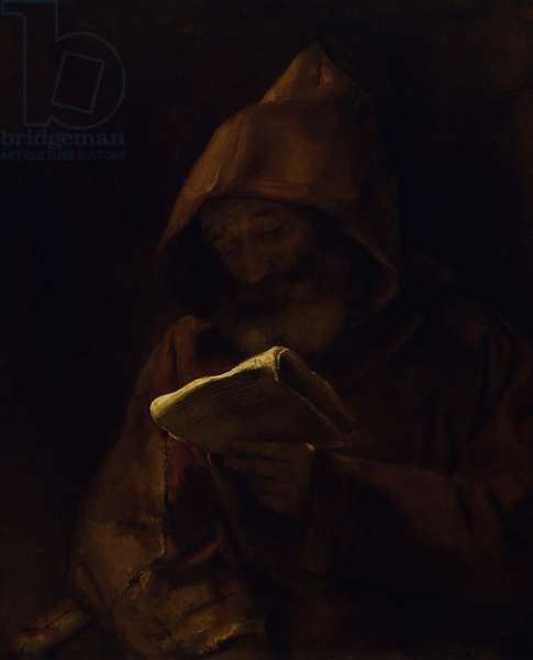 Monk Reading, 1661 (oil on canvas)