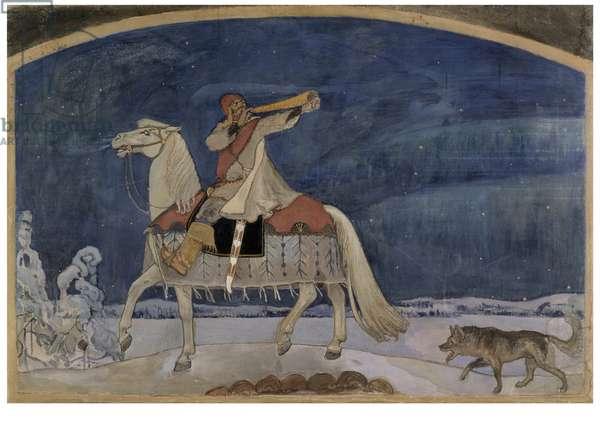 Kullervo sets off to Battle, 1901 (tempera on canvas)
