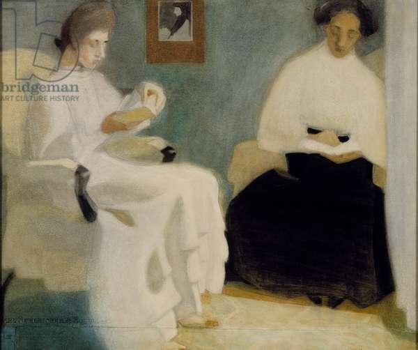 Girls Reading, 1907 (w/c, pastel & pencil on paper)