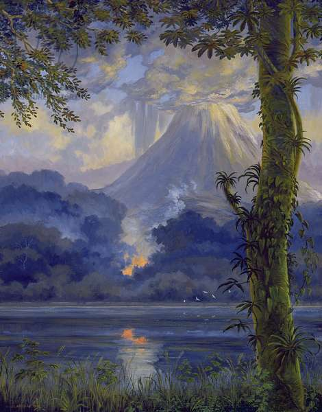 Volcano and Forest Fire (oil on canvas)