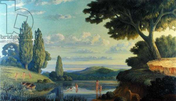 Bathers on a Lake Shore (oil on canvas)
