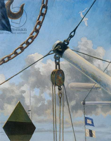 Maritime Composition with Derrick (oil on canvas)