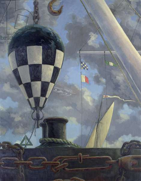Starboard Hand, Buoy and Sloop (oil on canvas)