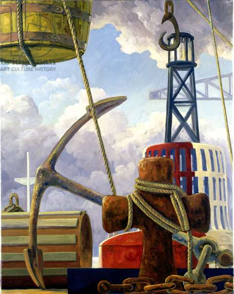 Marine Assemblage with Admiralty Pattern Anchor (oil on canvas)