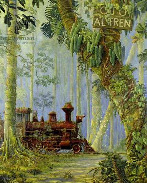 Abandoned locomotive (Ojo al Tren) (oil on canvas)
