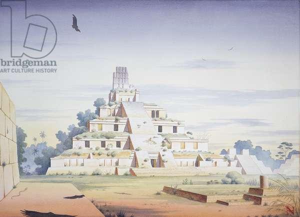 Temple of Five Terraces, Etzna, Campeche, Mexico (w/c on paper)
