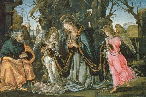 Nativity with Two Angels, possibly early 1490s (panel)