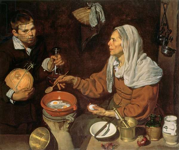 An Old Woman Cooking Eggs, 1618