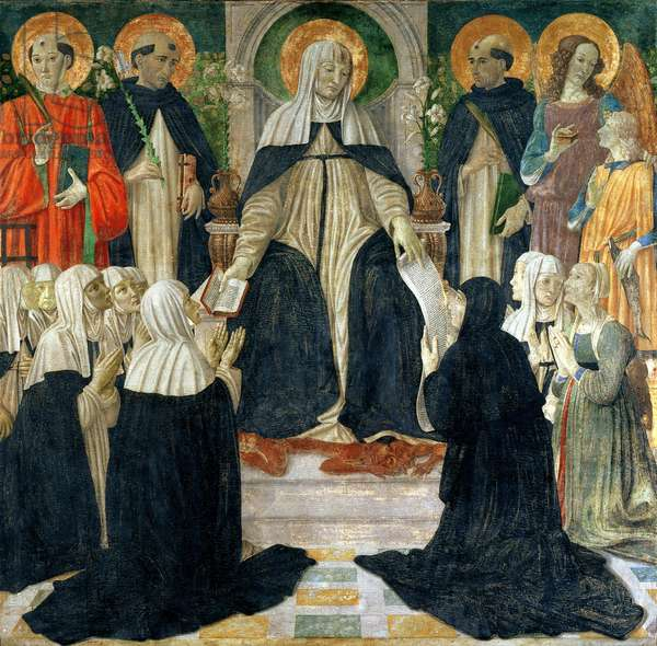 St. Catherine of Siena as the Spiritual Mother of the 2nd and 3rd orders of St. Dominic, c.1499-1500 (tempera and gold on panel)