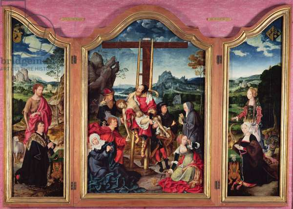 Triptych: Deposition from the Cross; St. John the Baptist; St. Margaret of Antioch, c.1528 (panel)