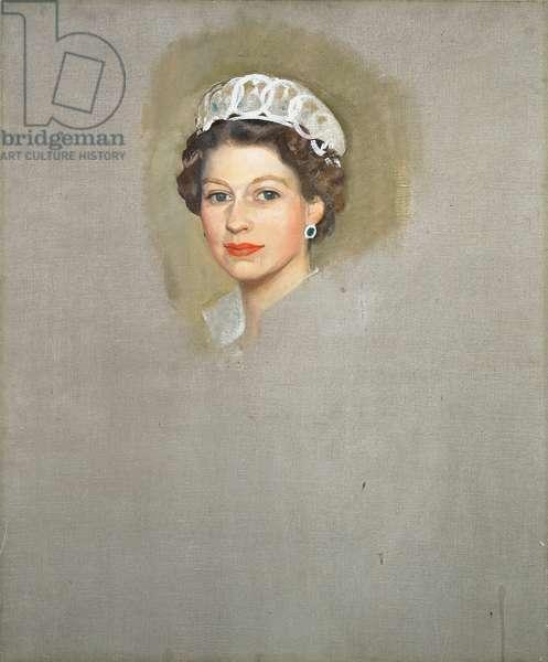 Portrait of Queen Elizabeth II (b.1926) 1956 (oil on canvas)