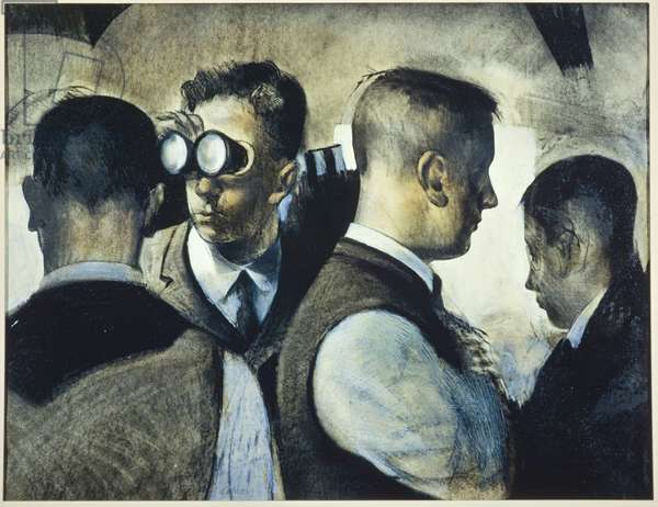 The Enthusiasts, 1987 (charcoal, pastel, gouache and varnish on paper)