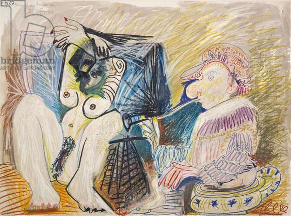 Man and Woman, 1967 (pastel, pencil and wash on paper)
