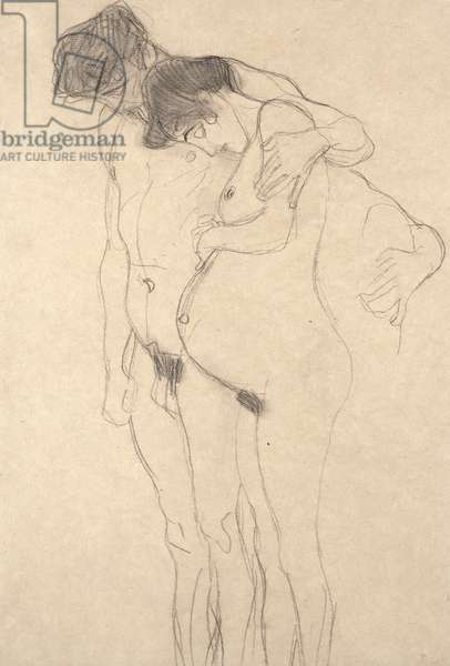 Pregnant Woman with Man: Study for Hoffnung I, c.1903-4 (chalk, paper)