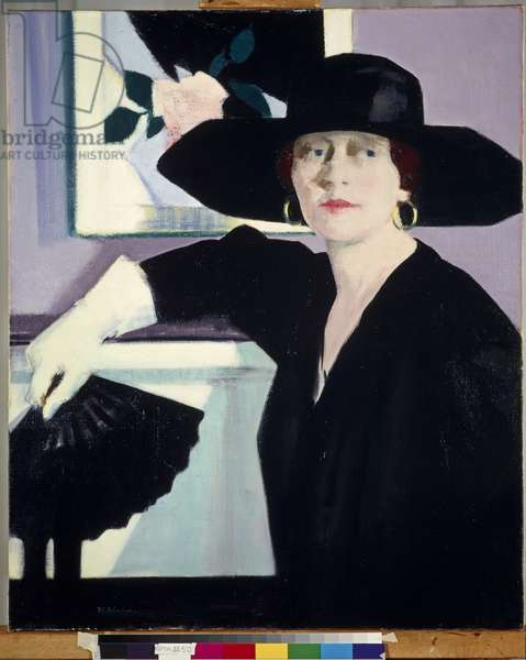 Portrait of a Lady in Black, c.1921 (oil on canvas)