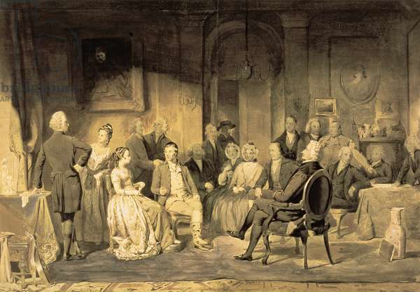 Robert Burns (1759-96) at Lord Monboddo's (1714-99) Party, 1854 (pen & ink wash on paper)