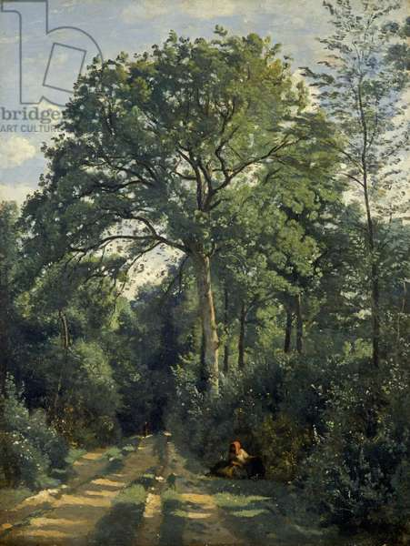 Ville d'Avray: Entrance to the Wood, c.1825, (oil on canvas)