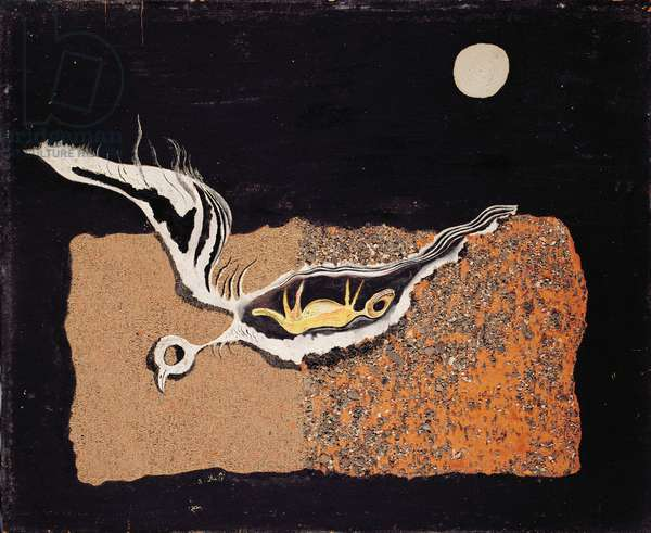 Bird (or Dove), 1928 (oil, sand and gravel on board)