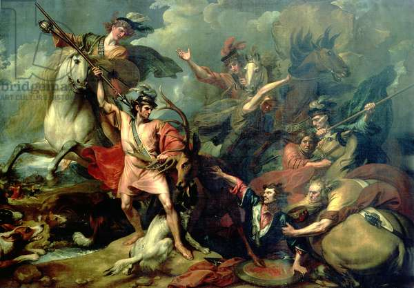 Alexander III of Scotland rescued from the fury of a stag by the intrepidity of Colin Fitzgerald, 1786 (oil on canvas)