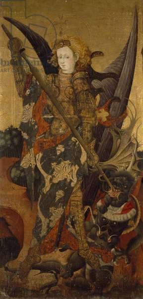 St. Michael Killing the Dragon (or Vanquishing the Devil), early 15th century (tempera and gold on panel)