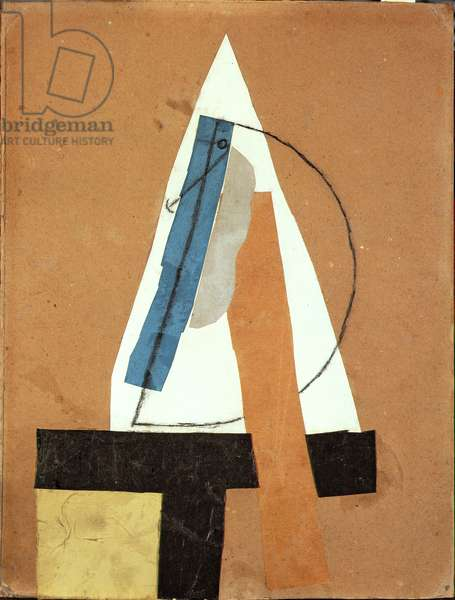 Head, 1913 (papiers colles with black chalk on card)