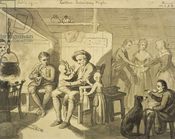 Illustration to 'The Cottar's Saturday Night' by Robert Burns, c.1790 (grey wash on paper)