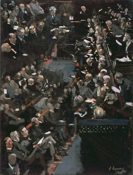 James Ramsay Macdonald addressing the House of Commons (oil on panel)
