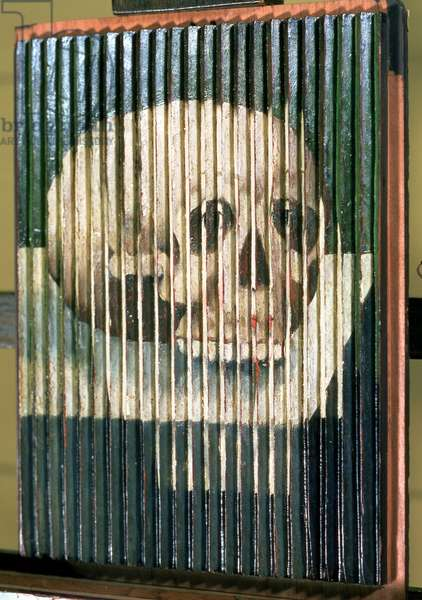 Anamorphosis of a skull, alternative view reveals unknown portrait of a woman of the late 16th century, formally identified as Mary Queen of Scots, 1590s (oil on panel) (see also 68266)