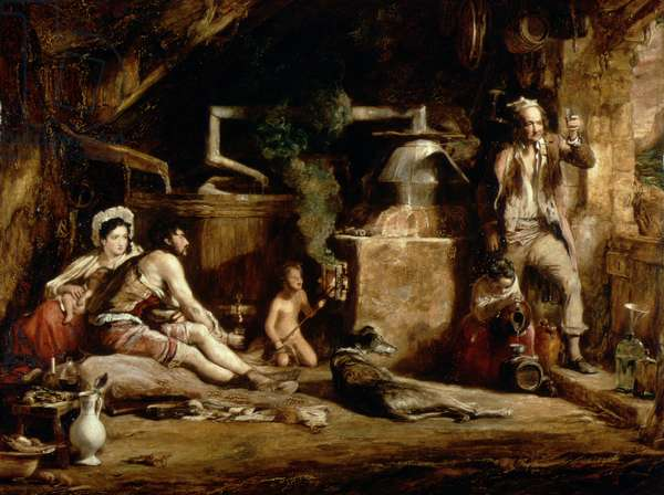 The Irish Whiskey Still, 1840 (oil on panel)