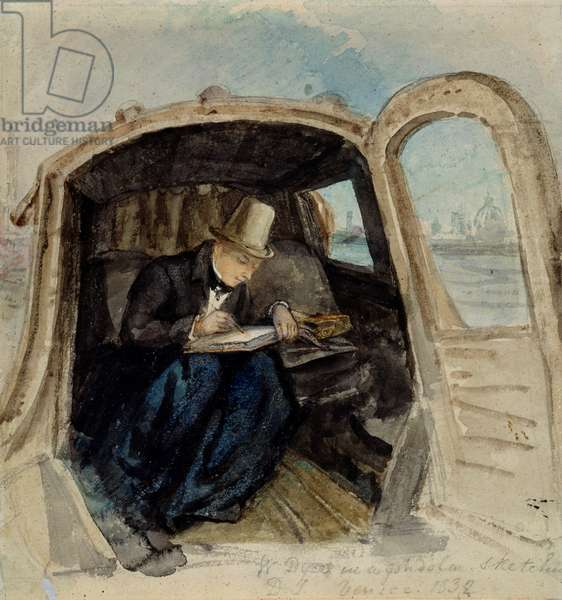 William Dyce (1806-64) in a Gondola Sketching in Venice, 1832 (w/c on paper)