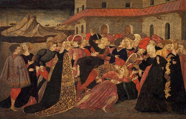The Rape of the Sabines (tempera and gold on panel)